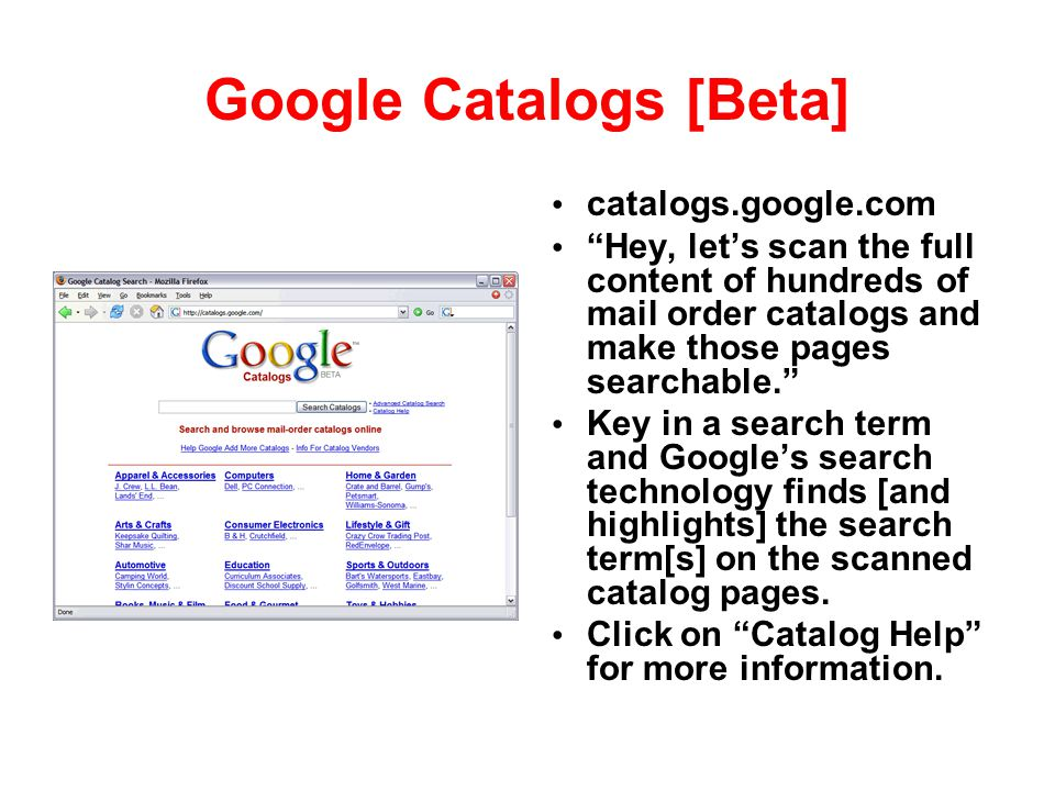 Google Catalogs [Beta]